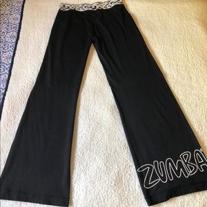 Zumba stretch black/white wide leg pant L